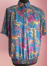 VTG 90s Ladies ALFRED DUNNER Teal Pleaded Pattern Shortsleeved Blouse Size 14