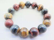 Colorful Tiger's-eye Stone Women's Men's Round Bead Bracelet 12mm Elastic J87