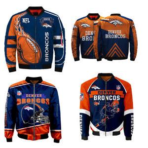 3D Mens Denver Broncos Jacket Ma1 Flight Bomber Thicken Coat Football Outwear