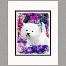 West Highland White Terrier Westie Print 8x10 Matted to 11x14