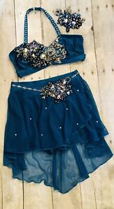 Custom Dance Competition Solo Costume lyrical jazz teal child large
