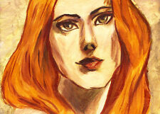 "ACEO Original Painting Collectible Art Card ""Woman with Golden Hair"""