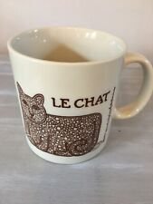 Taylor & Ng LE CHAT Coffee Cup Brown Cat Mouse Yarn Japan 1978 SF Vintage Mint