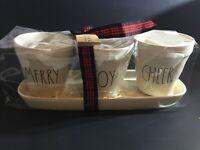 "Rae Dunn by Magenta 4-Piece Christmas Flower Pot Set "" Merry Joy Cheer Free Ship"