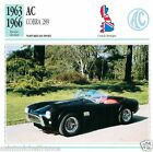 AC COBRA 289 1963-66 CAR VOITURE Great Britain GRANDE BRETAGNE CARTE CARD FICHE