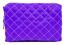 Quilted Cosmetic Makeup Bag Purple