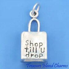 SHOP TILL YOU DROP SHOPPING BAG HEAVY 3D 925 Solid Sterling Silver Charm Pendant