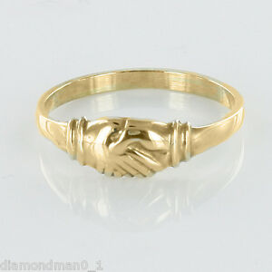 9ct Yellow Gold Claddagh Ring (Fede) Style Friendship - Small