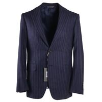 NWT $2195 CANALI Blue and Plum Stripe Soft Flannel Wool Suit 40 R (Eu 50)
