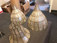 3 Antique Old Abalone Or Mother Of Pearl Lamp Shades 1920s-30s