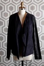 NWT Vince Draped Blocked Suede Leather Jacket XL $995 Coastal Black