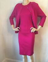 NWT St John Knit dress suit size 12 deep pink zinnia milano knit wool rayon