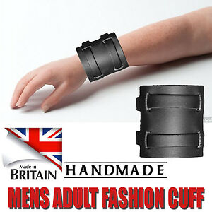 Mens Black Genuine 100% Soft Real Leather Force Strap Bracelet Made In England