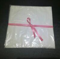 Servietten Set 12 Stk weiß gesäumt 25x25 cm bestickter Rand 100% Baumwolle