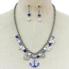 "18"" silver blue sea life nautical anchor pendant charm necklace 1.20"" earrings"