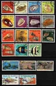 DJIBOUTI - LOT SHELLS / FISH / BIRDS CTO MNH