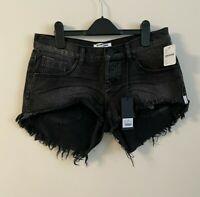 New Free People One Teaspoon Mini Denim Shorts, Black, W27, RRP $98