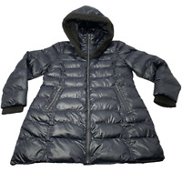 RACHEL ROY Women's Coat Sz XL Knit Trim Hooded Puffer Black Jacket Winter Jacket