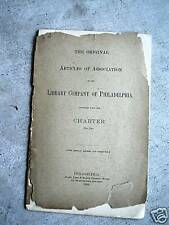 1894 Booklet Articles of Association Library of Philadelphia