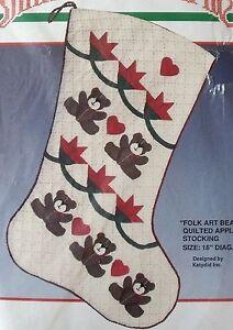 NIP Vintage Bucilla Christmas Folk Art Bears Quilted Applique Stocking Kit