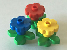 *NEW* 3 Sets LEGO Large Rounded Flower 2x2 RED BLUE YELLOW with GREEN STEMS