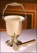 "Embossed Holy Water Pot Brass 4 3/4""Dia. x 10"" H with Sprinkler Aspergillum 8"" L"