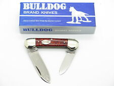 VTG 1986 BULLDOG BRAND TOBACCO CANOE FOLDING POCKET KNIFE RED GLITTER