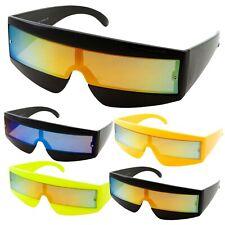 80s Mirror Wrap Around Sunglasses Robot Cyclops Lady Gaga Daft Punk Neon Glasses