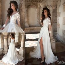 Beach Wedding Dresses Long Sleeves A Line Chiffon Appliques Plus Size 0 4 8 12