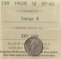 1902 H King Edward (Cameo) Canada 5 Cents (nickel)- 92.5% AG- ICCS: EF-40-