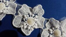6PCS Ivory White Beaded Floral Embroidery Appliques Motifs Sewing Trims EB0259