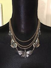 LUCKY BRAND Two-Tone Butterfly Multi-Layered Necklace NWT L@@K Fast Shipping!!!!