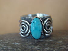 Native American Jewelry Sterling Silver Turquoise Ring by Alex Sanchez Size 6 1/