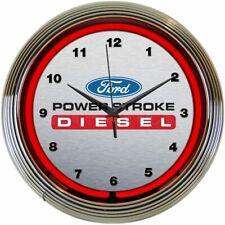 "Ford Power Stroke Diesel Logo Red Neon Hanging Gray Clock 15"" Diameter 8FRDPS"