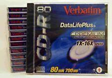 Verbatim CD-R 80 Min DataLifePlus 700MB CD Recordable New Sealed Lot of 12