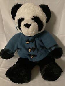 Dan Dee Black White Panda Bear Plush Stuffed Animal With Blue Hoodie Jacket 2016