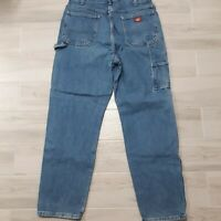 """DICKIES Jeans Relaxed Fit Straight Leg Carpenter Painter Blue 37"""" x 32"""" Cargo"""