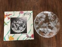 "FANTASIA CRYSTAL CLEAR STUDIOS GLASS ROUND PLATTER 13"" Diameter 1991  NEW"