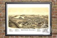 Vintage Wappingers Falls, NY Map 1889 - Historic New York Art - Old Industrial