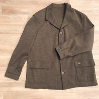burberry LONDON sweater cardigan jacket coat wool Men's green olive size 58 2XL