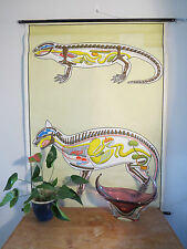 VINTAGE PULL DOWN ZOOLOGICAL SCHOOL CHART OF AMPHIBIAN & MAMMAL INTERNAL ANATOMY
