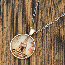 Womens Building Cabochon Pendant Necklace Silver Chian Jewellery Decoration Gift