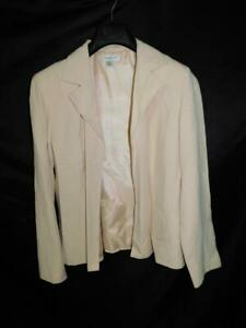 Coldwater Creek L Beige Silk Linen Blazer Shirt Jacket Open Front Lined Neutral