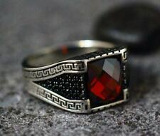 With Rich Black Onyx Men's Ring Classic Turkish Vintage Style Blood Red Ruby