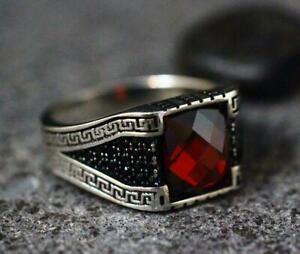 Classic Turkish Vintage Style Blood Red Ruby With Rich Black Onyx Men's Ring