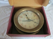 Time Works Clock in a Brass Wheel Ralph Paine Ships Clock. Nib