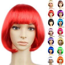♡ pour femmes sexy complet Bangs rouge bleu Perruque courte lisse Bob cheveux