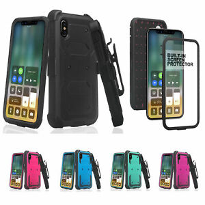 For Samsung Galaxy A10E   A20   A30 Case Built-in Screen Protector Holster Cover