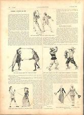 Escrime période Renaissance Henri II épée deux mains Louis XIII GRAVURE 1894