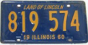 ILLINOIS 1960 licence/number plate US/United States/USA/American 819 574